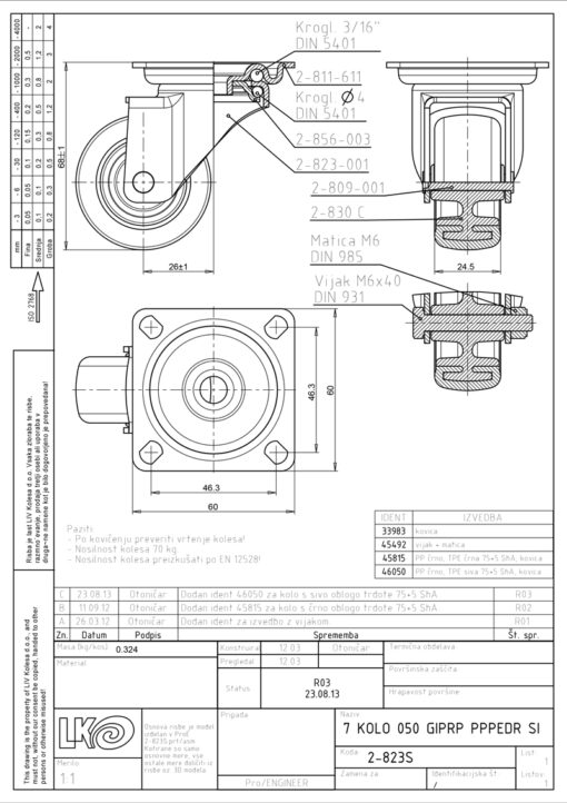1190+LIV kotač metalni okretni, sivi,Ferro-pack