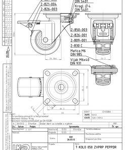1195+LIV kotač metalni okretni sa kočnicom,Ferro-pack