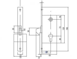 1263 + Brava za kliznu kapiju sa cilindrom, 120 x 67 mm,Ferro-pack