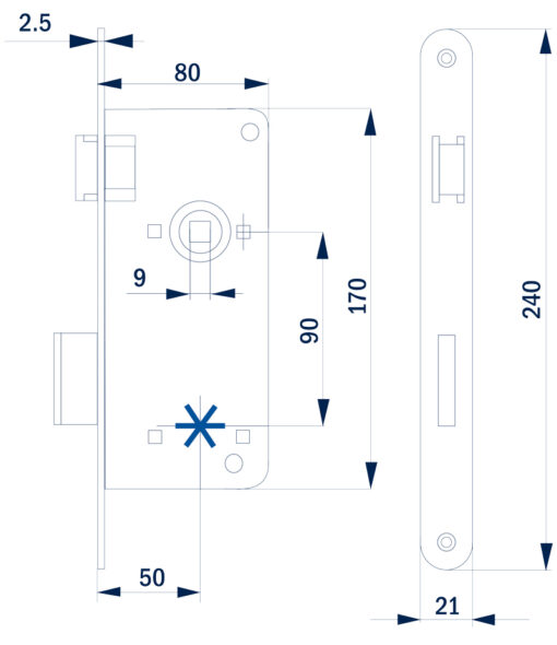 1396 - Bane brava za vrata cink. plavo - 80 mm