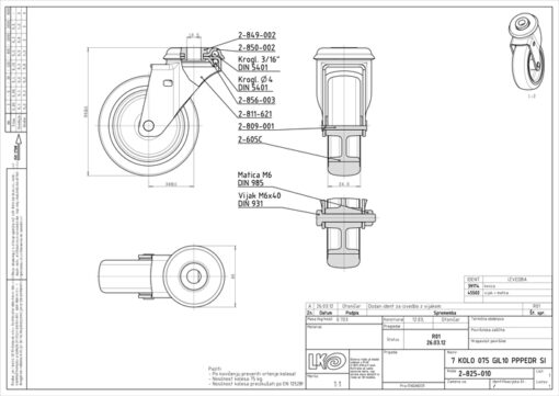 1616 - LIV kotač metalni okretni s rupom, sivi, fi 75 mm,Ferro-pack
