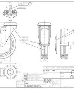 1617 - LIV kotač metalni okretni s rupom, sivi, fi 100 mm,Ferro-pack
