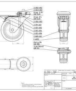 1618 - LIV kotač metalni okretni s rupom i kočnicom, sivi, fi 75 mm,Ferro-pack