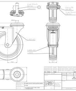 1619 - LIV kotač metalni okretni s rupom i kočnicom, sivi, fi 100 mm,Ferro-pack