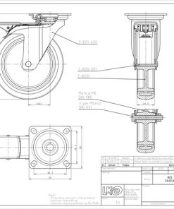 1791 - LIV kotač metalni okretni s kočnicom, sivi, fi 100 mm,Ferro-pack