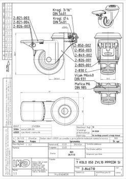 1874+LIV kotač metalni okretni sa rupom i kočnicom,sivi,Ferro-pack