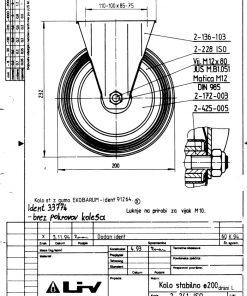 2196 - LIV kotač metalni fiksni, fi 200 mm, KG - 205,Ferro-pack