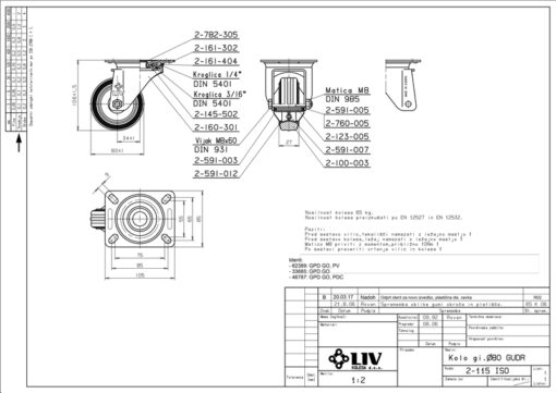 2197+LIV kotač metalni okretni,Ferro-pack