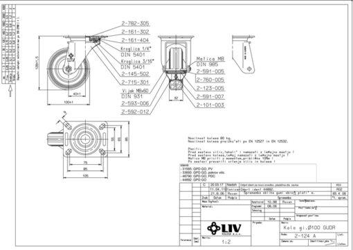 2198 - LIV kotač metalni okretni, fi 100 mm, KG - 70,Ferro-pack