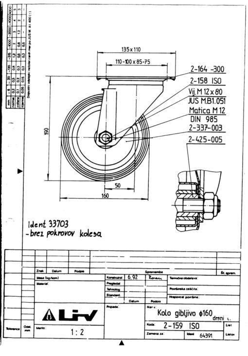 2200 - LIV kotač metalni okretni, fi 160 mm, KG - 150,Ferro-pack