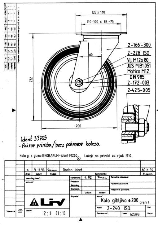 2201 - LIV kotač metalni okretni, fi 200 mm, KG - 205,Ferro-pack