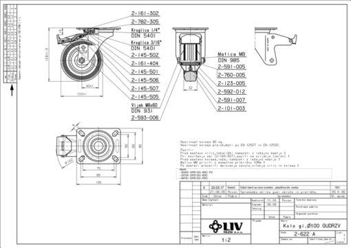 2203 - LIV kotač metalni okretni sa kočnicom, fi 100 mm, KG - 70,Ferro-pack