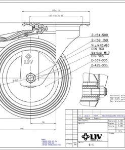 2205 - LIV kotač metalni okretni sa kočnicom, fi 160 mm, KG - 135,Ferro-pack