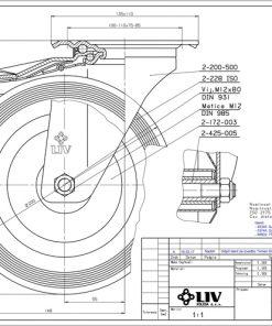 2206 - LIV kotač metalni okretni sa kočnicom, fi 200 mm, KG - 205,Ferro-pack