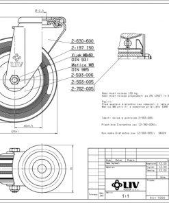 2209 - LIV kotač metalni okretni sa rupom, fi 125 mm, KG - 130,Ferro-pack