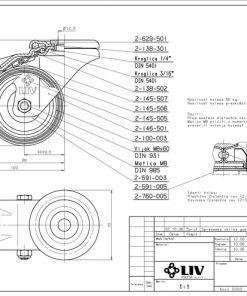 2211 - LIV kotač metalni okretni sa rupom i kočnicom, fi 100 mm, KG - 80,Ferro-pack