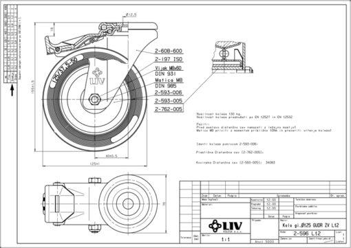 2212 - LIV kotač metalni okretni sa rupom i kočnicom, fi 125 mm, KG - 130,Ferro-pack