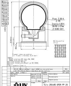 2219 - LIV kotač za neravni teren sa plastičnom felugom, bez osovine, fi 260 mm, KG - 150,Ferro-pack