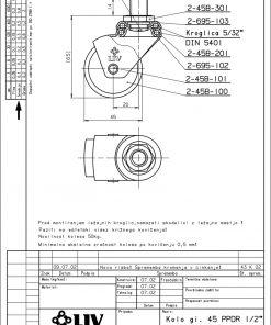 2225+LIV metalni kotač za namještaj fi 45 mm, sa vijkom 1/2