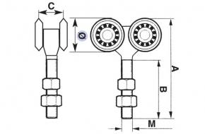 2354 + Nosač visečih vrata fi 24 mm x 65 mm, M 8, sa 4 kotača, IBFM,Ferro-pack