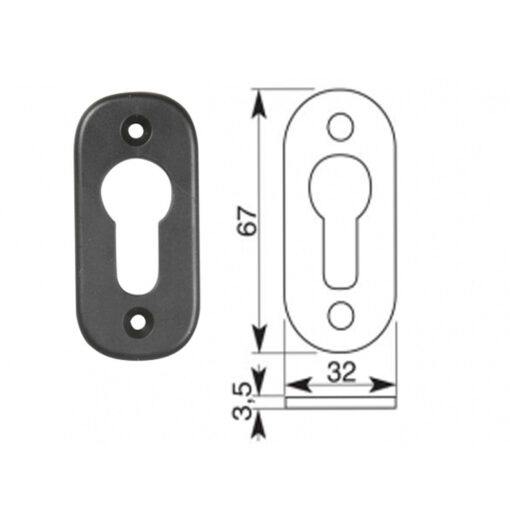 2360+Rozetna cilindra za metalna vrata, crna - par, IBFM,Ferro-pack