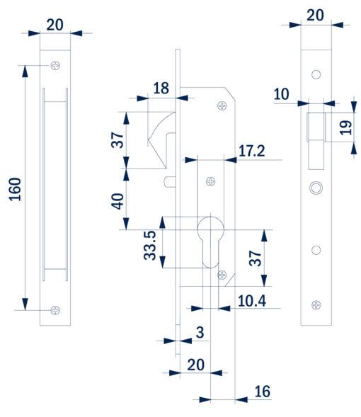 2404+Brava za klizna vrata sa kljunom i trnom, 35 mm, - cilindar,Ferro-pack