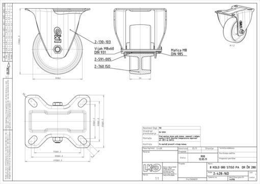 2534 - LIV kotač stabilni temperaturno otporni, fi 80 mm,Ferro-pack