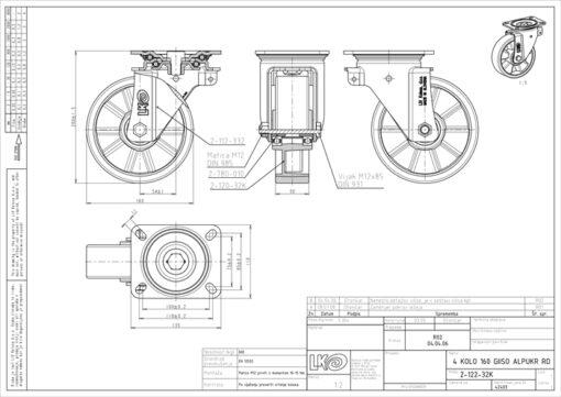 2537 - LIV kotač metalni okretni.poliur,fi 160,Ferro-pack