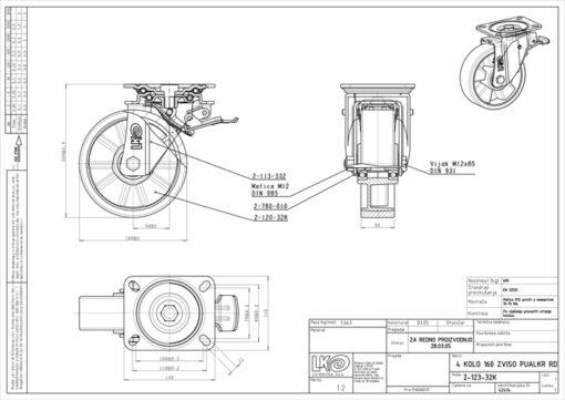 2539 - LIV kotač metalni okretni sa koč-poliuretan fi 160,Ferro-pack