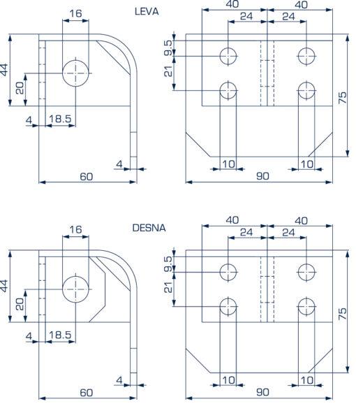 2605+Sigurnosne uši za katanac 76 mm, ovalno,Ferro-pack