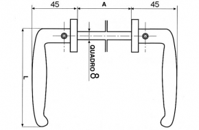 2999 + Kvaka za metalna vrata -rustika, profil kvadrat , crna,IBFM,Ferro-pack