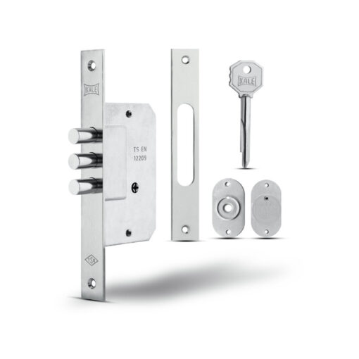 3073 KALE dodatna sigurnosna brava za drvena i metalna vrata, sa križnim ključem,h-110 mm, 3 šipa, nikl Ferro-pack Vitez BiH