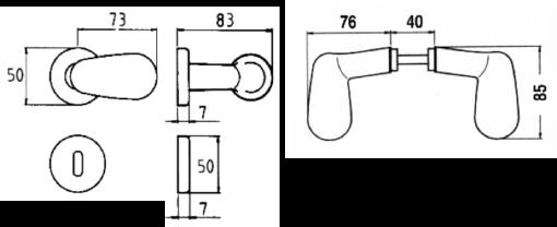 3082+Polu-ovalna kvaka - dugme za kl. kapiju (par) Ferro-pack