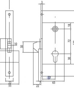M1553 + Brava za kliznu kapiju sa kukom i cilindrom - 40 mm,Ferro-pack