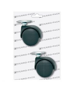 P2095 PVC kotač , sa pločicom crni ; 2 kom,Ferro-pack,Vitez,BiH