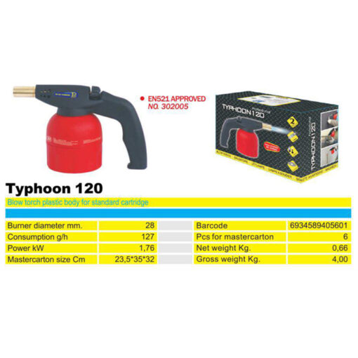 2168+Plinski brener na kartušu TYPHOON 120, - ručni, ABS,Ferro-pack