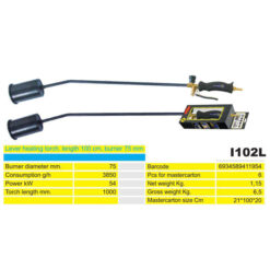 2181 + Plinski brener sa ventilom i sig. ručkom I102 L, l-100 cm, fi 75 mm,Ferro-pack