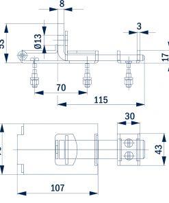 2379+Sigurnosni zasun BANE 170 x 70 mm,Ferro-pack