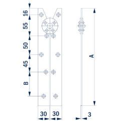 2382+Spojnica za ljestve BANE 2/1 - par, 225 mm,Ferro-pack