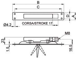 2587 + Rubni zatvarač za metalna vrata - ukopavajuči, 152 x 20 mm, M8,Ferro-pack