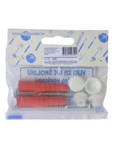 3091 – Vijci za WC školjku MS – mesing 6×90 mm, sa NI – nikl navrtkom, par, sa PP tiplom,Ferro-pack