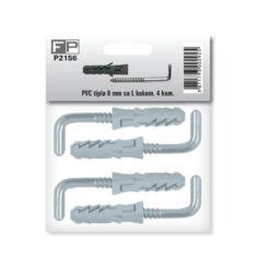 P2156 PVC tipla 8 mm sa L kukom, 4 kom,Ferro-pack