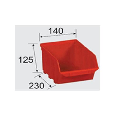 2163 - Plastična kutija TA 3, 125 x 140 x 230 mm, crvena,Ferro-pack