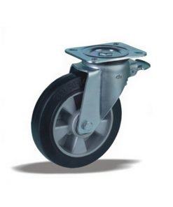 3343 - Liv kotač fi 100 mm okretni sa kočnicom nalivena guma elastic -170 kg,Ferro-pack