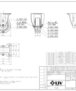 3353+Liv kotač PA fi 100 mm fiksni elastic zelena-150kg,Ferro-pack
