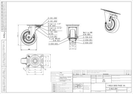 3354+Liv kotač PA fi 100 mm okretni elastic zelena-150kg,Ferro-pack