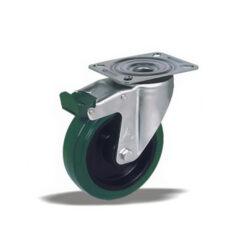 3355 - Liv kotač PA fi 100 mm okretni sa kočnicom elastic zelena-150kg,Ferro-pack