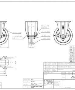 3356 - Liv kotač PA fi 125 mm fiksni elastic zelena-200kg,Ferro-pack