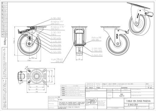 3358 - Liv kotač PA fi 125 mm okretni sa kočnicom elastic zelena-200kg,Ferro-pack