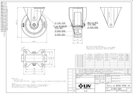 3359 - Liv kotač PA fi 160 mm fiksni elastic zelena-300kg,Ferro-pack